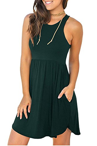 14 Dark Loose Dresses Sleeveless Long Green Dress Women's with Casual IWOLLENCE Plain Sleeve Short Pockets OxIn7TwZ