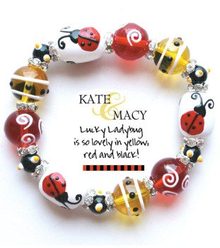 Clementine Design Kate & Macy Lucky Ladybug Bracelet Painted Glass Beads - Macy's Glasses