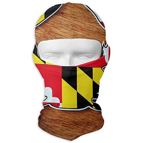 (Northern Nebula Maryland Flag Balaclava - Windproof Ski Mask - Motorcycle Full Face UV Protection Mask White)