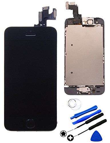 Repair Cracked OEM iPhone 5s LCD Display Screen Touch Digitizer Full Assembly Replacement with Home Button+Front