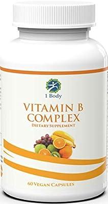 Vitamin B Complex – 5-MTHF Folate with B1, B2, B5, B6, Methyl B12, Niacin, Biotin – Wide Range of Benefits for Stress, Heart Health, Healthy Brain Function, Nervous System Support