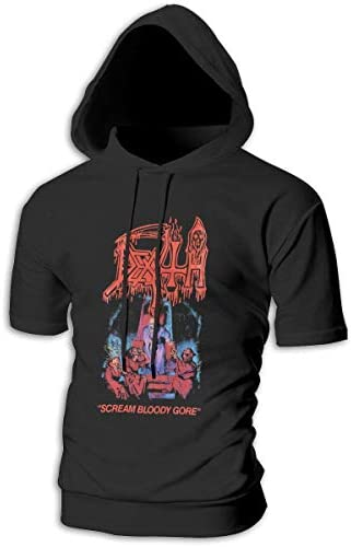 Tシャツ シャツ ティーシャツ スウェットシャツ パーカー ストレッチ メンズ 半袖 フード付き デス スポーツtシャツ 吸汗速乾 トレーニング ジムtシャツ 通気性 黒