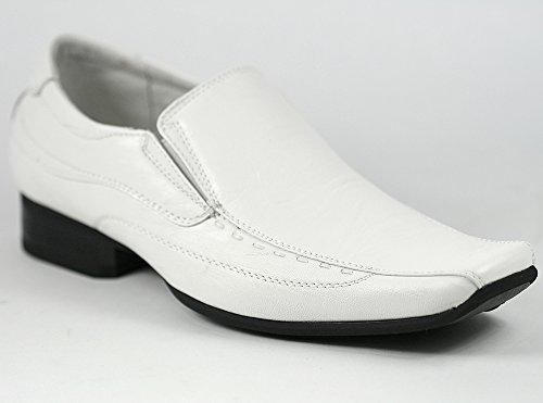 Delli Aldo M-18675 Men's White Slip On Loafers Dress Classic Shoes (7.5)