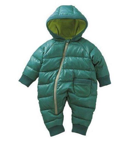 Gaorui Baby warm jumpsuit infant winter kids coat Siamese newborn romper climbing suit_Blue Green-80