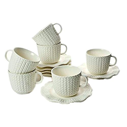 - Yedi Houseware Classic Coffee and Tea Cups & Saucers|Complete, Premium Quality Porcelain Set In White Color Matte Sweater Collection |Stunning Hostess Gift Idea|7oz (Set of 6)