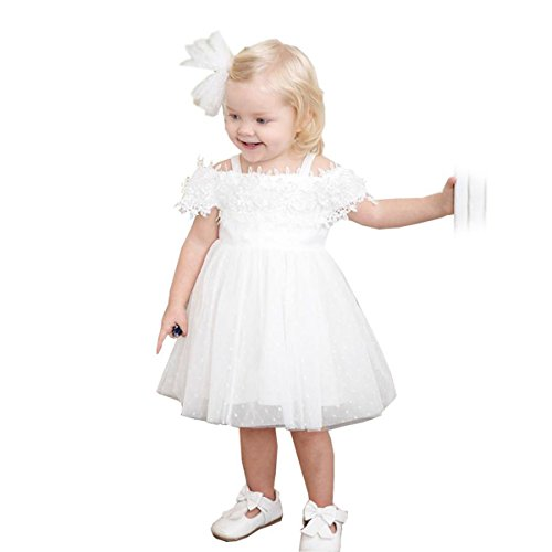 little dragon pig White Toddler Girl Dress 2T Flower Tulle Princess Birthday Party Summer Dresses