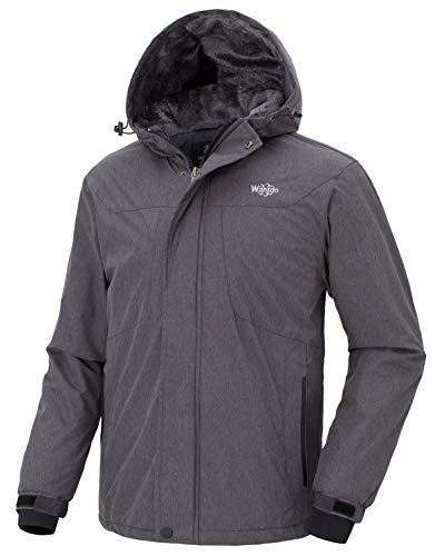 Wantdo Men's Winter Jacket Wind Block Winter Windcheater Driving Hoodie Grey M