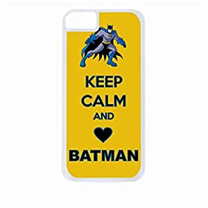 Keep Calm and Love Batman - Blue and Yellow - Hard White Plastic Snap - On Case-Apple Iphone 5C Only - Great Quality!