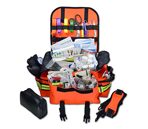 Lightning X Small First Responder EMT EMS Trauma Bag Stocked First Aid Fill Kit B (Fluorescent Orange)