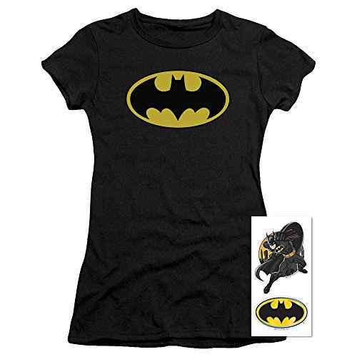 Batman Ladies T-shirt (Batman Classic Logo Women's T Shirt & Exclusive Stickers (Small))