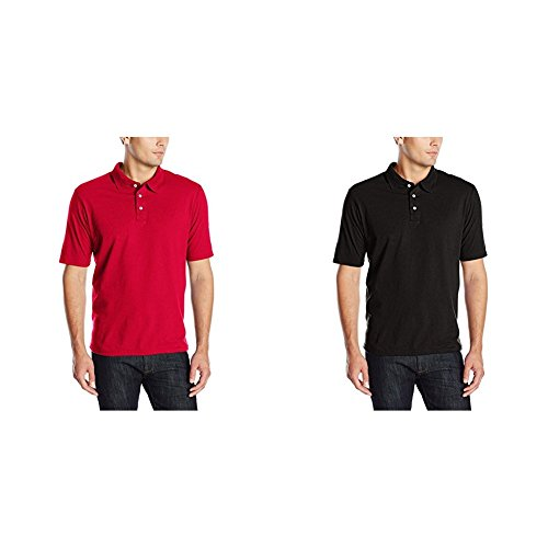 Hanes 2 Pack X-Temp Performance Polo Shirt, Deep Red/Black, ()