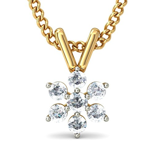 18 K Or jaune 0.24 CT TW Round-cut-diamond (IJ | SI) Pendentif
