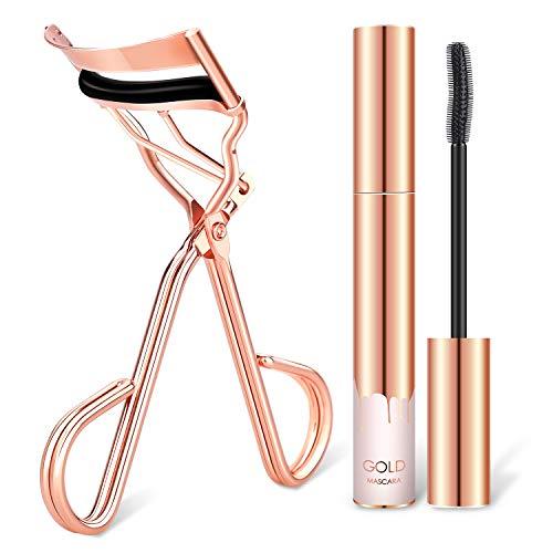 Eyelash Curler with waterproof mascara & Satin Bag & Refill Pads,No Pinch Design Lash Curling Tool Set for Eye Safety & Stunning Eyelashes(Rose Gold)