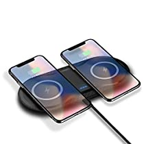 Dual Wireless Charger DoSHIn Wireless Charger Pad with QC3.0 Adapter Double Desktop Charging Station Compatible with iPhone X/XS/XS Max/XR/8, Samsung Galaxy S10/S9/Note 9 and All Qi EnabledPhones
