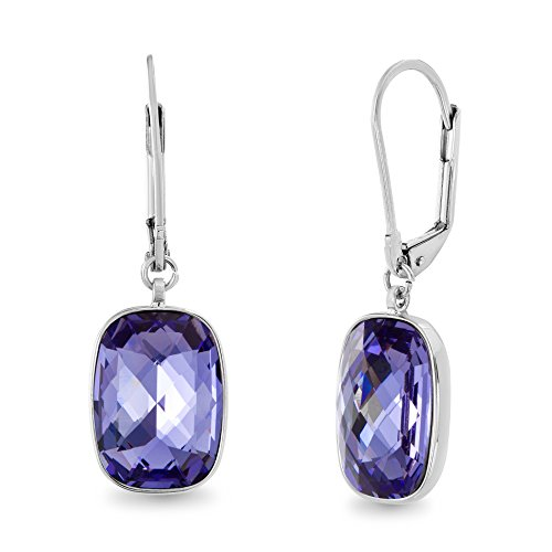Devin Rose Rectangular Faceted Cushion Leverback Earrings for Women Made With Swarovski Crystal in Rhodium Plated Brass (Color: Tanzanite)