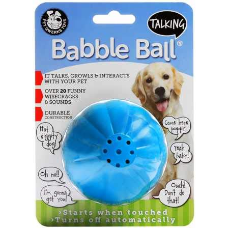 Pet Qwerks Talking Babble Ball Interactive Pet Toy – Wisecracks & Makes Funny Sounds, Electronic Ball that Talks & Makes…