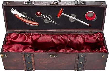 BRUBAKER Kit de Accesorios para Bar 5 en 1 con Caja de Vino de Madera - Juego de Sommelier en Acero Inoxidable con Cuchillo de Camarero + Tapón + Termómetro + Anillo de Goteo
