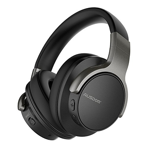 AUSDOM ANC8 Active Noise Cancelling Bluetooth Headphones, Wireless Over-Ear Headphones with Super HiFi Deep Bass, Built-in Microphone and 20 Hours Playtime for Travel, Work and anywhere
