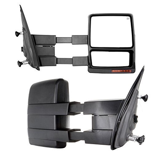 OCPTY Tow Mirror Replacement fit for 2007-2014 Replacement fit ford F-150 F150 Pickup Truck Pair Set Power Heated Puddle Signal Manual Telescopic Towing Mirrors (RH+LH) ()