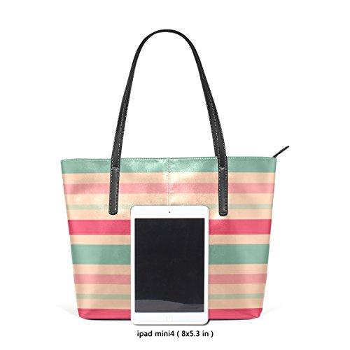 COOSUN Pink Blue Strips PU Leder Schultertasche Handtasche und Handtaschen Tasche für Frauen