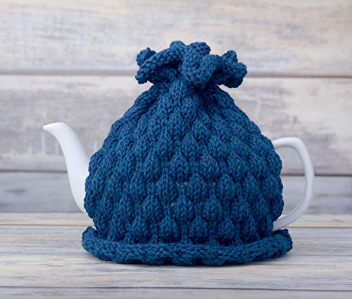Midnight Blue Tea Pot Cozy Teapot Cosy Wool Cover Cosie Knitted Warmer - Knitted Tea Cosy
