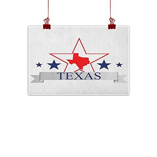 Sunset glow Art Poster Print Texas Star,San Antonio Dallas Houston Austin Map with Stars Pattern USA, Navy Blue Vermilion Pale Grey 20