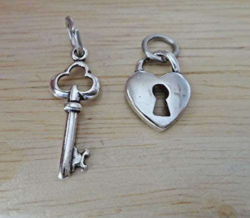(1 of Each Sterling Silver 22x9mm Both Skeleton Key & Lock Heart Charms Jewelry Making Supply, Pendant, Sterling Charm, Bracelet, Beads, DIY Crafting and Other by Wholesale Charms )