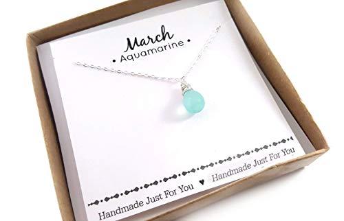 Aquamarine Gemstone March Birthstone Necklace - Sterling Silver Briolette Teardrop Jewelry - Gift for Her