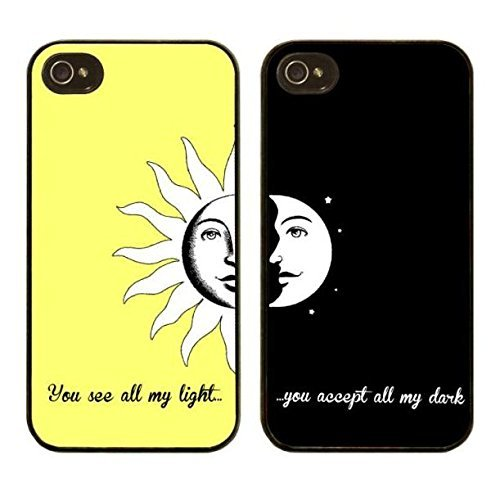 DECO FAIRY Set Of Two, Compatible with iPhone 6 / 6s, Cartoon Anime Animated BFF Best Friends You See All My Light Bright Sun And You Accept All My Darkness Moon Series Pvc Hard Case Covers (Best Friend Iphone Cases)