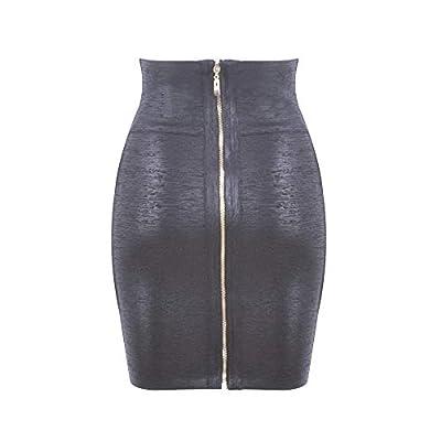 HLBandage Elastic Leather High Waist Bodycon Mini Skirt at Women's Clothing store