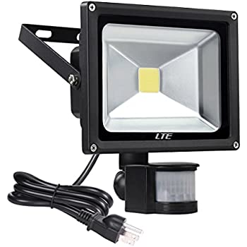LED Motion Sensor Floodlight Plud In, LTE 20W Waterproof LED PIR Sensor  Security Lights,