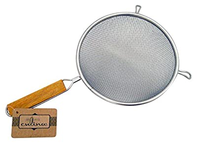 """Culina 8"""" Double Mesh Strainer, Stainless Steel, Wooden Handle"""