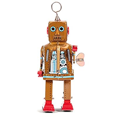 Off the Wall Toys Retro Vintage Style Space Robot Wind-Up Key Motor (Gold): Toys & Games