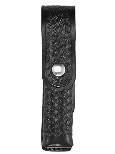 Aker Leather 548LED Flashlight Holder, Black, Basketweave, Fits Streamlight Strion LED, Scorpion and Surefire 6P LED Flashlights by Aker Leather