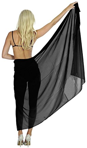 SwimSwimwear Wrap Cover up Womens Dress Sarong Bathing Beachwear Black (Sarong Beachwear)