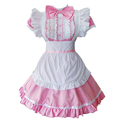 Colorful House Women's Cosplay Cat Ear French Apron Maid Fancy Dress Costume (Medium, Pink (with Petticoat))]()