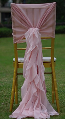12pcs chiffon curly willow sash universal chair wrap hood cover for wedding