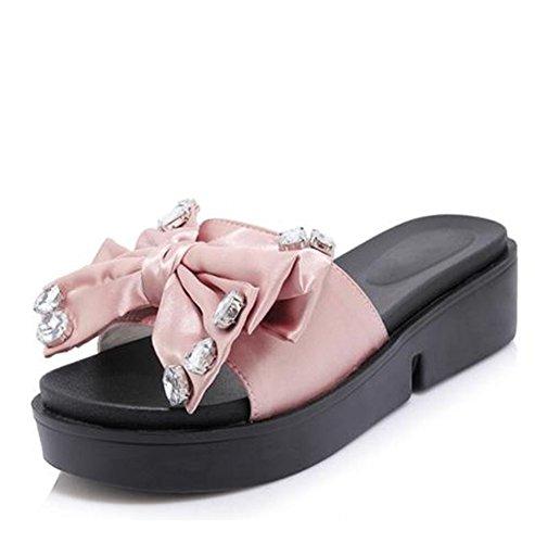Easemax Orteil Ouvert Bout Ouvert Mi-talon Semelle Épaisse Plate-forme Diapositive Sandales Avec Noeuds Rose
