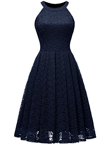 - MODECRUSH Womens Halter Neck Formal Cocktail Party Floral Lace Wedding Midi Dress S Navy
