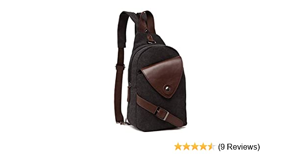 Amazon.com  DRF Canvas Sling Bag Chest Crossbody Bag Vintage Fit iPad BG-01  (Black)  Sports   Outdoors da8e29044208f