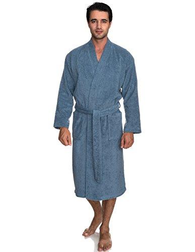 Striped Mens Robe - TowelSelections Men's Robe, Turkish Cotton Terry Kimono Bathrobe X-Small/Small Coronet Blue