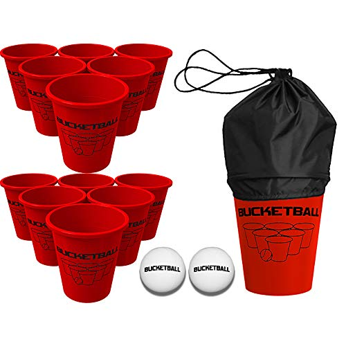 BucketBall Giant Beer Pong Edition Starter Pack - Best Beach, Pool, Yard, Camping, Tailgate, BBQ, Lawn, Water, Indoor, Outdoor Game Toy for Adults, Boys, Girls, Teens, Family