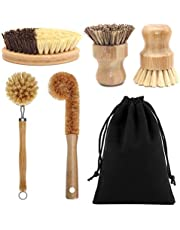 Bamboo Palm Scrub Brush Sisal Dish Brush Round Natural Dish Scrubber for Cast Iron Pots, Pans, Kitchen Sink and Vegetable
