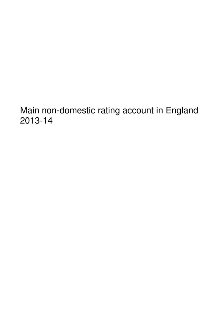 Download Main non-domestic rating account in England 2013-14 (House of Commons Papers) pdf epub