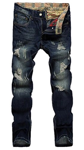 Men%27s+Ripped+Slim+Fit+Straight+Denim+Jeans+Jogger+Pants+Vintage+Style+with+Broken+Holes+W32