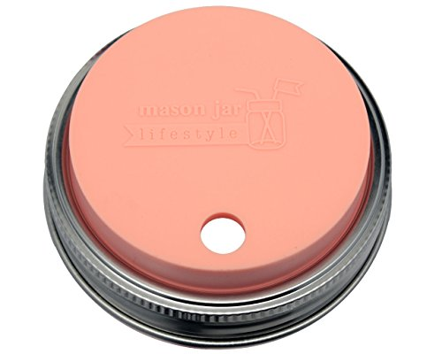 MJL Silicone Straw Hole Tumbler and Fermentation Lid with Rust Proof Band for Mason Jars (2 Pack, Light Coral, Wide Mouth)