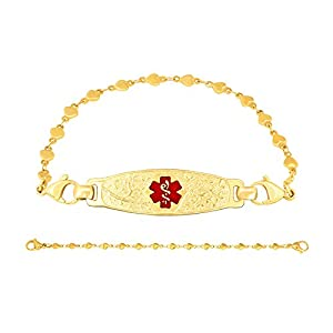 Divoti Custom Engraved PVD Gold Elegant Olive Medical Alert Bracelet -PVD Gold Heart Link-TP Red