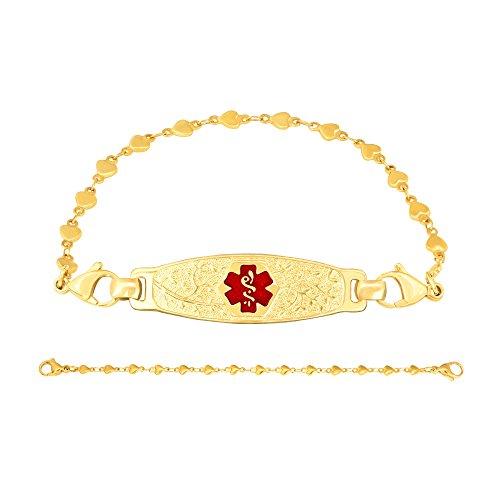 Divoti Deep Custom Laser Engraved PVD Gold Elegant Olive Medical Alert Bracelet -PVD Gold Heart Link-TP Red-6.5