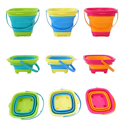Rigel7 3pcs/Set Collapsible Bucket Set 2-Liter Silicone Folding Pails with Handle Great for Camping, Backpacking, Cleaning, Car Wash, Fishing, Party Drinks, Kids Beach Outdoor Play, Gifts Boys Girls ()