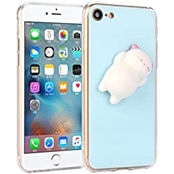 Voberry Squishy 3D Cute Lazy Cat Clear Silicone Back Soft Case Cover For iPhone 7 4.7 Inch (Blue)